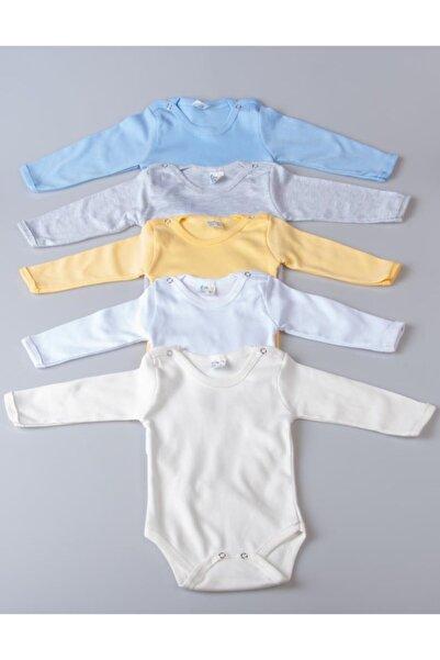 POKY BEBE Erkek Bebek 5'li Karışık Renk Uzun Kollu Çıtçıtlı %100 Pamuklu Body Zıbın