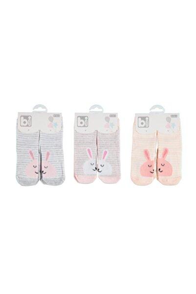 Bibaby Kız Bebek Çorap Tavşan Desenli Pamuklu Poky 6'lı