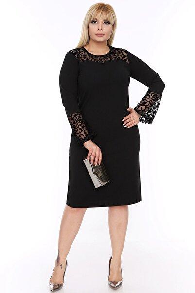 Moday Kadın Siyah Ispanyol Kol Elbise 4d-88249