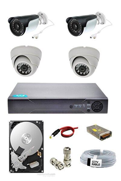 OEM 4 Lü 2 Dış 2 Iç Mekan Güvenlik Kamera Seti 1080p Ahd Kamera Seti Gece Izlenebilir