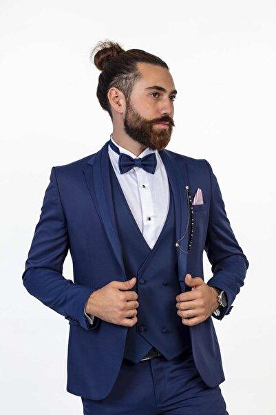 Moda Rabin Erkek Lacivert Klasik Smokin Damatlık Takım Elbise Çıkma Yaka