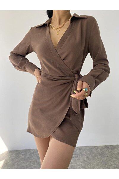 MAİ COLLECTİON Talia Keten Elbise Kahverengi