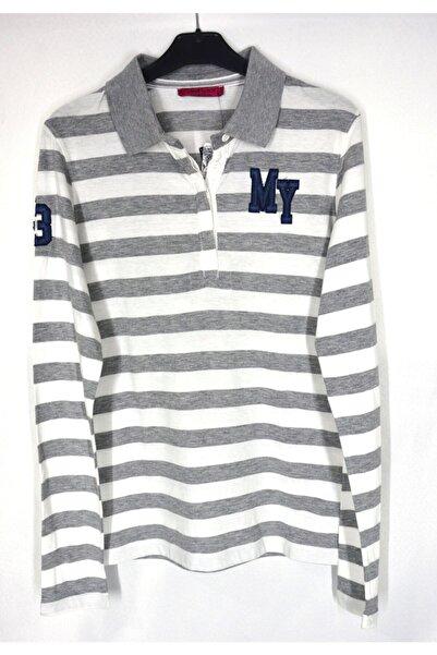 Collezione Kadın Gri Polo Yaka Sweatshirt