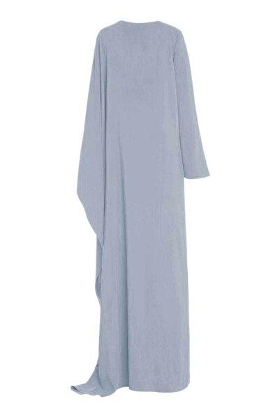 MERT ERKAN Fernandez Buz Mavisi Drape Detaylı Dökümlü Elbise