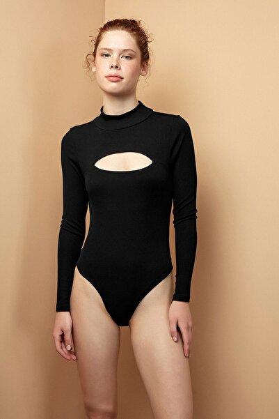 Penti Siyah Long Sleeve Cutout Detailed Bodysuit