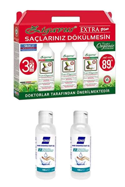 Zigavus Extra Plus Sarımsaklı Şampuan 3 x 250 Ml + Konix Dezenfektan 2 x 100 Ml