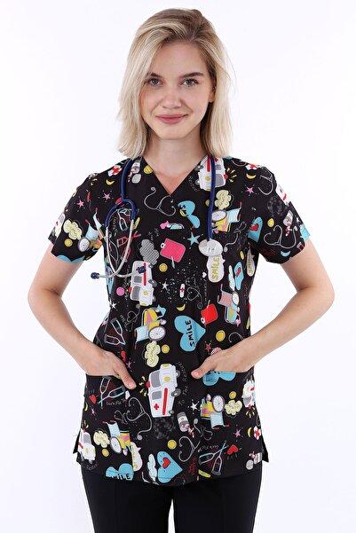 AWEST Likralı Desenli Kadın Zarf Yaka Tek Üst Doktor Forması Hemşire Forması Diş Hekimi Veteriner