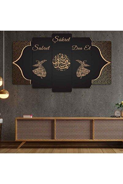 Evonya Sabret, Şükret, Dua Et  5 Parçalı Dekoratif Tablo