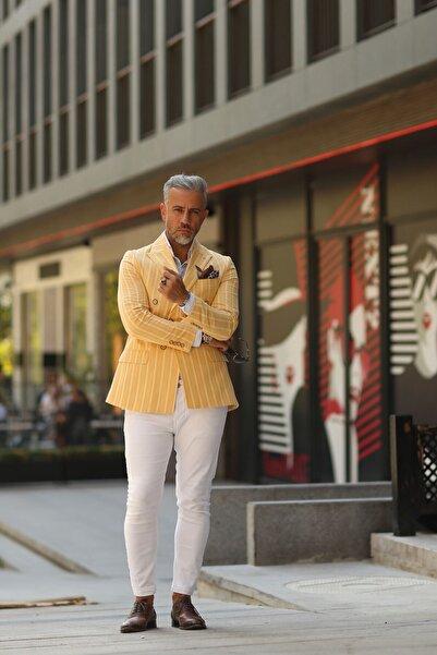 Fc Plus Erkek Sarı Çizgili Kruvaze Ceket