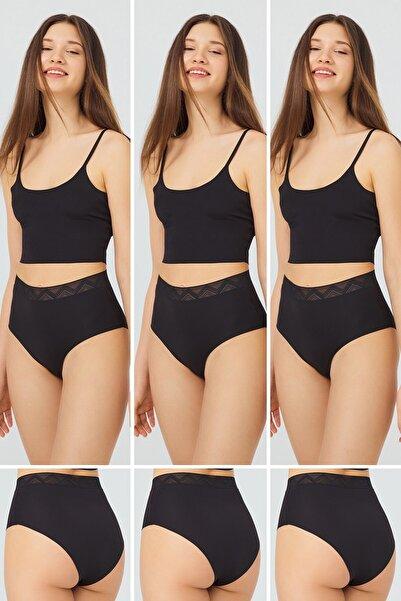 Cottonhill Basic Yüksek Bel Lazer Kesim Bikini Külot 3'lü Paket - 3