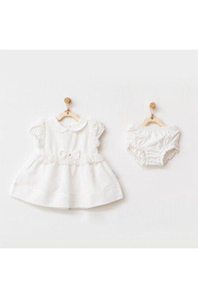 andywawa Kız Bebek Ekru Fiyonklu Elbise Takımı