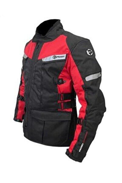 7150 4 Mevsimlik Korumalı Uzun Motosiklet Montu Kırmızı Siyah
