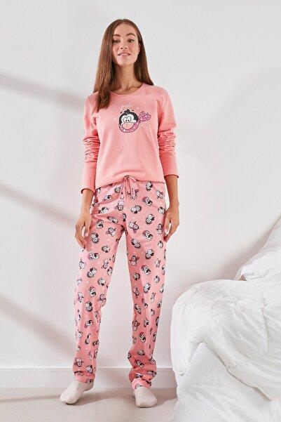 C&City Kadın Uzun Kol Pijama Takım C18032477067 Bebek Pembesi