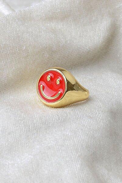X-Lady Accessories Kırmızı Renkli Altın Kaplama Ayarlanabilir Gülen Yüz Yüzük