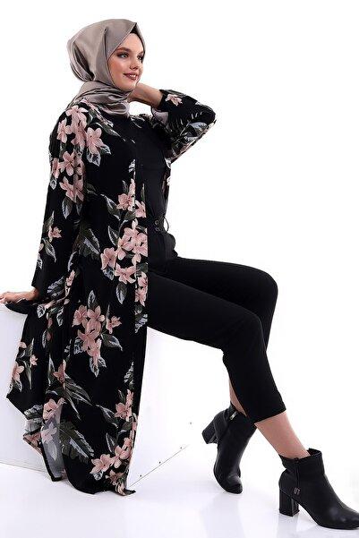 ARYA FASHION Desenli Geniş Kol, Şık Salaş, Uzun, Kemerli Tesettür Kimono