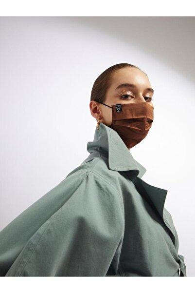 DIZAYN MASK Gümüş Iyonlu Yıkanabilir Bez Maske Kahverengi 5-10 Yaş Çocuk Uzun Lastik Telsiz