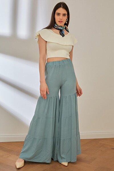 Miyore Beli Lastikli Bol Paça Pantolon- Mint