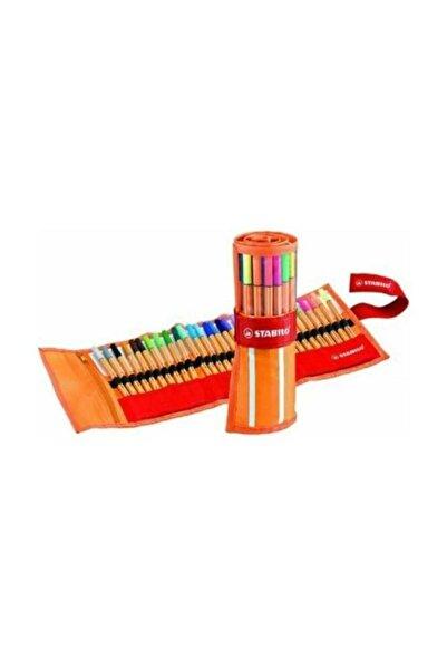 Stabilo Mandala Kitap Hediyeli + Point 88 Ince Keçe Uçlu Kalem 25+5 Floresan Renk Rülo Çantalı Set