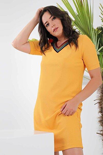 Tuvid Kadın Büyük Beden Kısa Kollu Elbise P21stvd-4126
