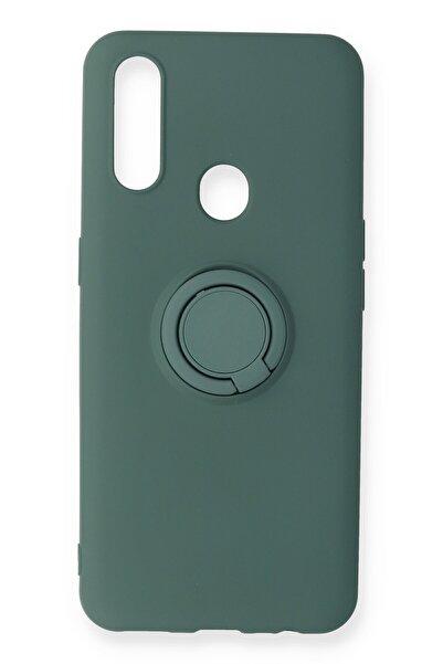 Oppo A31 Kılıf Viktor Yüzüklü Silikon Kapak Ankacep - Koyu Yeşil