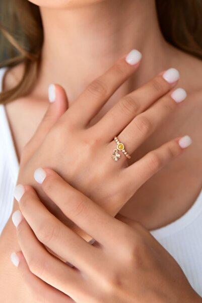Papatya Silver 925 Ayar Gümüş Sarı Ay Taşlı Çiçek Motifli Ayarlanabilir Kadın Yüzük