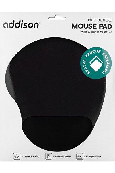 ADDISON 300152 Siyah Ekstra Kauçuk Kaplamalı Bileklikli Mouse Pad
