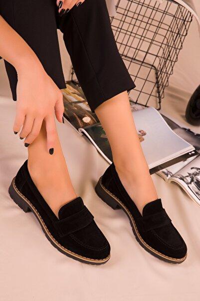 SOHO Siyah Süet Kadın Casual Ayakkabı 15471
