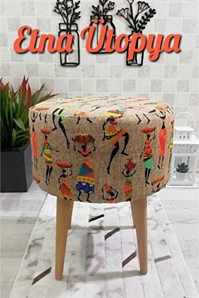 PufyHome Etna Ütopya Çok Amaçlı Gürgen Ayaklı Dekoratif Puf Bench Sandalye Koltuk