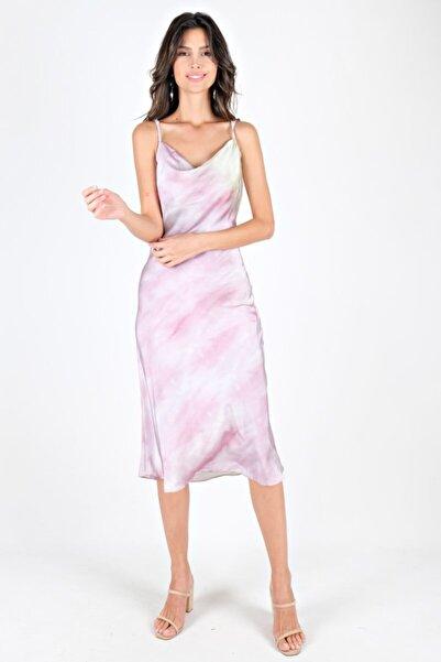 Spazio Ip Askılı Saten Desenli Elbise