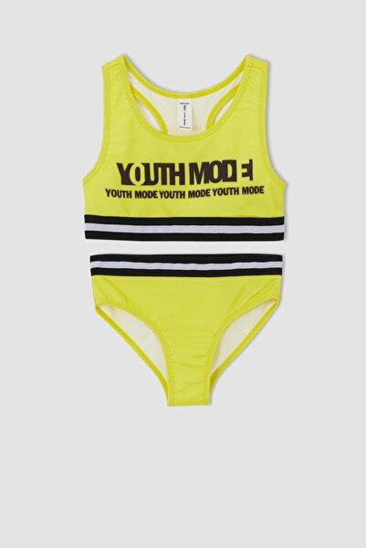 DeFacto Kız Çocuk Yazı Baskılı Esnek Bikini Takımı