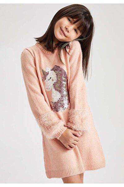 DeFacto Kız Çocuk Unicorn Payet Işlemeli Triko Elbise