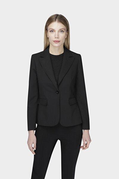 W Collection Siyah Tek Düğme Basıc Ceket