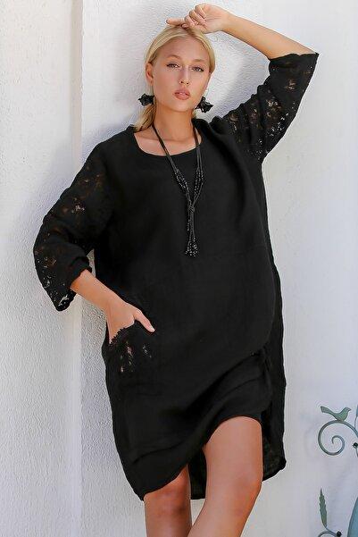 Chiccy Kadın Siyah İtalyan Kolları Dantel Yanı Büzgü Bağlamalı Oversize Cepli Keten Elbise M10160000EL94245