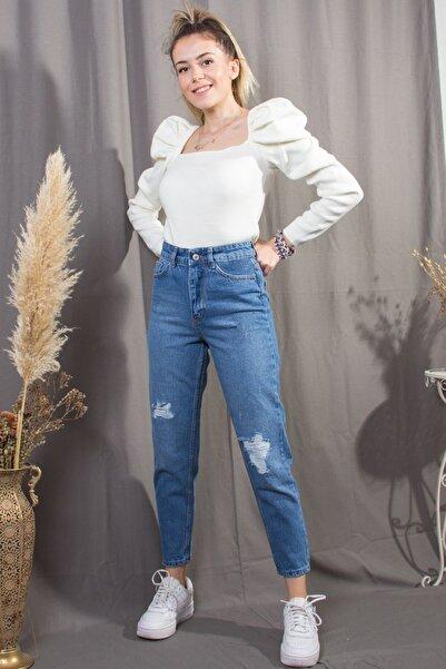 Gaydalı Giyim Kadın Mavi Lazerli Yırtık Dar Kalıp Denim Jeans Kot Pantolon
