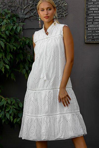 Chiccy Kadın Beyaz Fisto Kumaş Hakim Yaka Kolsuz Astarlı Uzun Elbise M10160000EL94326