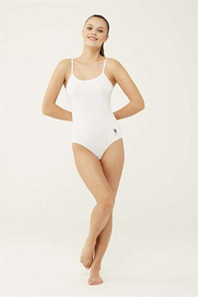 U.S. Polo Assn. Kadın Beyaz Ip Askılı Çıtçıtlı Body