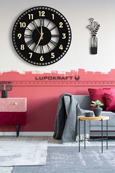 LUPOKRAFT Dekoratif Aynalı Duvar Saati 50x50cm + Vazo Tablo