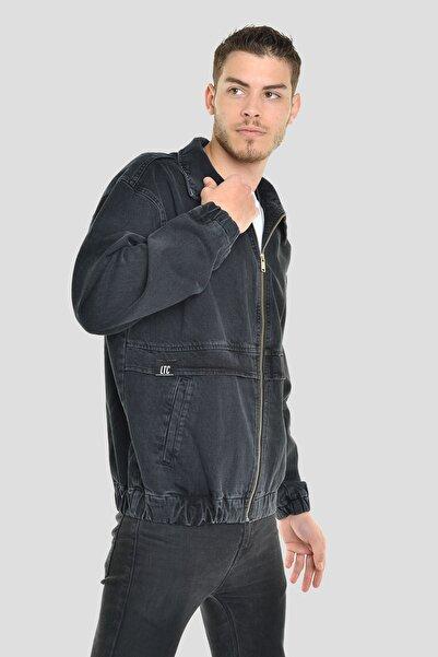 LTC Jeans Erkek Siyah Oversize Baskılı Fermuarlı Bomber Kot Ceket