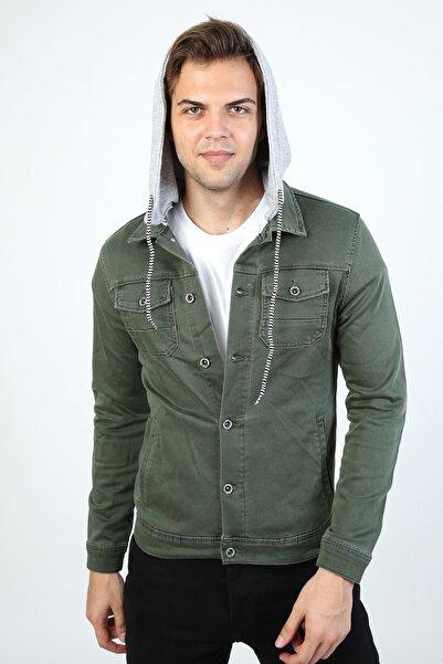 LTC Jeans Erkek Haki Çıkarılabilir Kapüşonlu Yıkamalı Kot Ceket