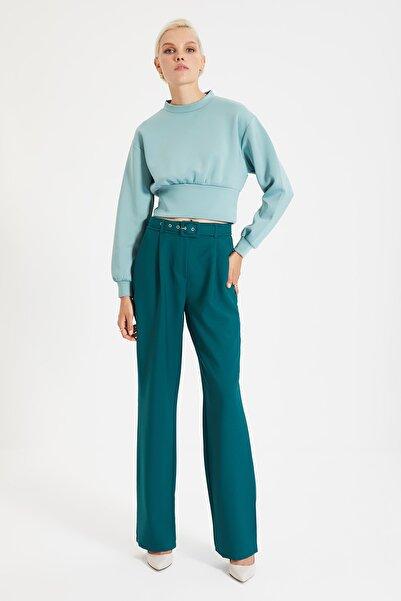 TRENDYOLMİLLA Yeşil Kemerli Pantolon TWOAW22PL0030