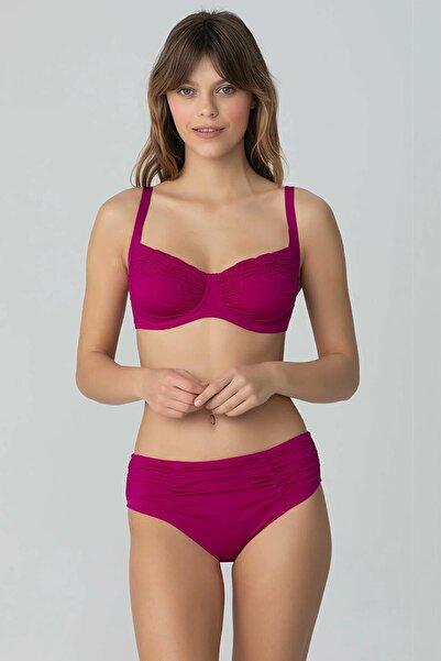 Kom Kadın Frambuaz Drapeli Toparlayıcı Bikini Takım