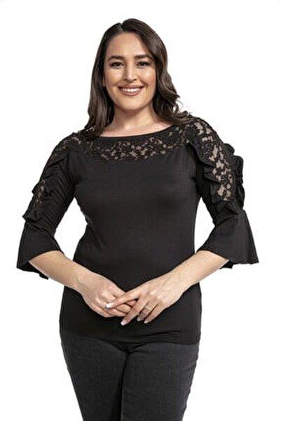 Güpür Yaka Ve Kol Detaylı Fırfırlı Siyah Bluz