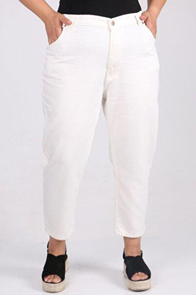 Eslina 9125-1 Büyük Beden Boyfriend Kot Pantolon Beyaz