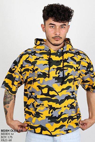 Sekizbiraltı Sarı Kamuflaj Kısa Kol Kapşonlu Sweatshirt