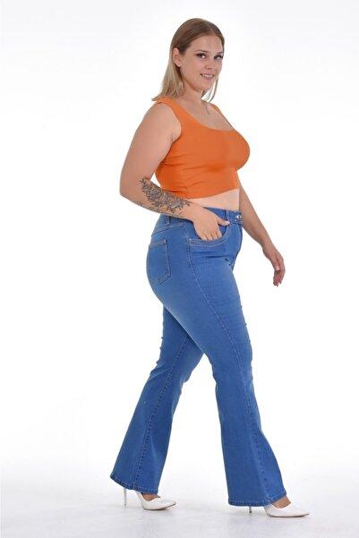 Era Lisa Kadın Mavi Ispanyol Paça Likralı Büyük Beden Jeans Pantolon