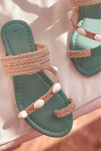 I Love Shoes Velra Hasır Parmak Arası Terlik Mint Yeşili