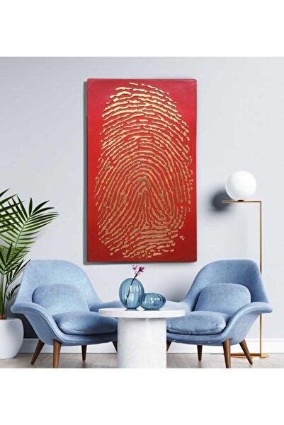 EchoArt Enamil Serisi Kırmızı Altın Boyalı 3 Boyutlu Parmak Izi Tablo