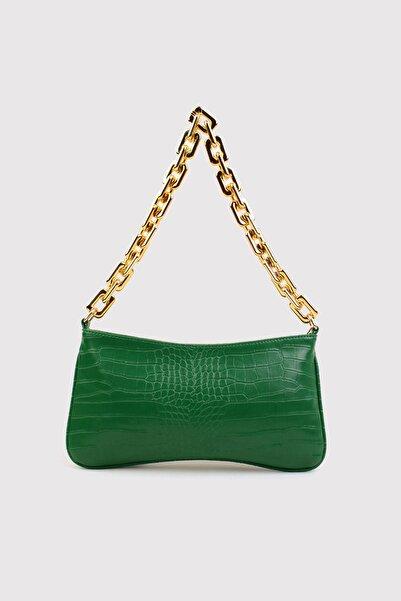 Berlesi Yeşil Kadın Timsah Desenli Zincirli Baget Çanta