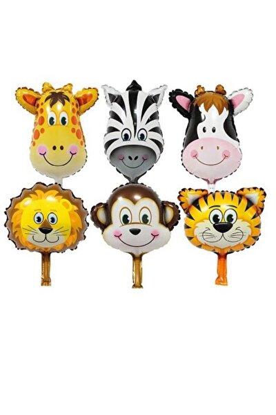 Parti dolabı 6 Adet 14'' 35cm Safari Set Folyo Balon Hayvan Seti Maymun-zürafa-zebra-aslan-inek-kaplan