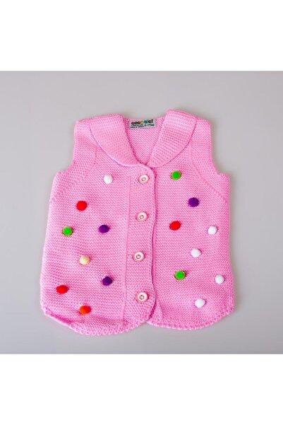 POKY BEBE Kız Bebek Ponponlu Düğmeli Triko Yelek-389